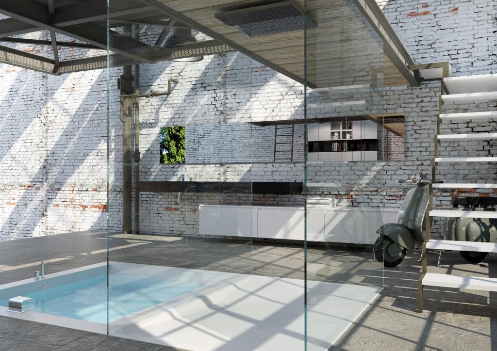 Loft Moderno: Maxi vasca incassata e Mobili a Parete in Corian