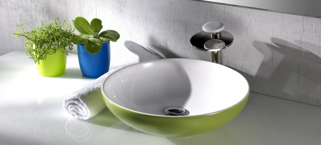Lavabo Ovale in grigio cemento, platino, verde acido e arancio