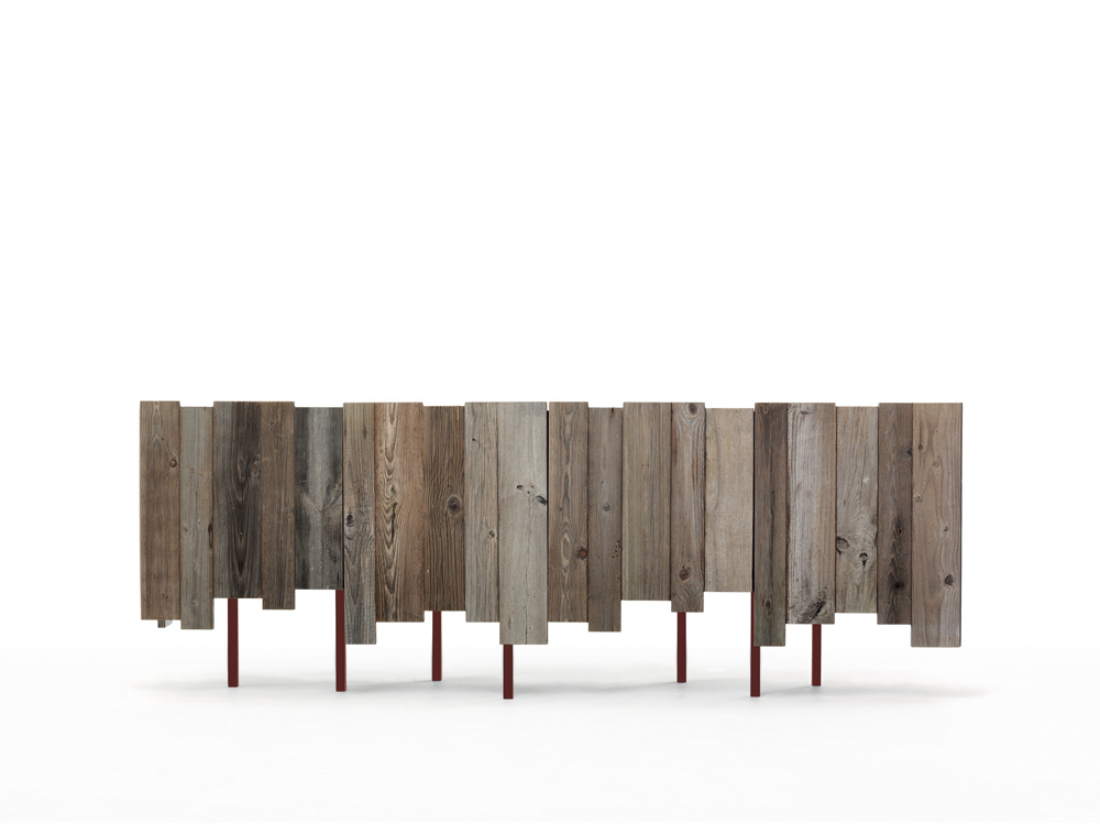 Contenitore in ferro e legno di recupero